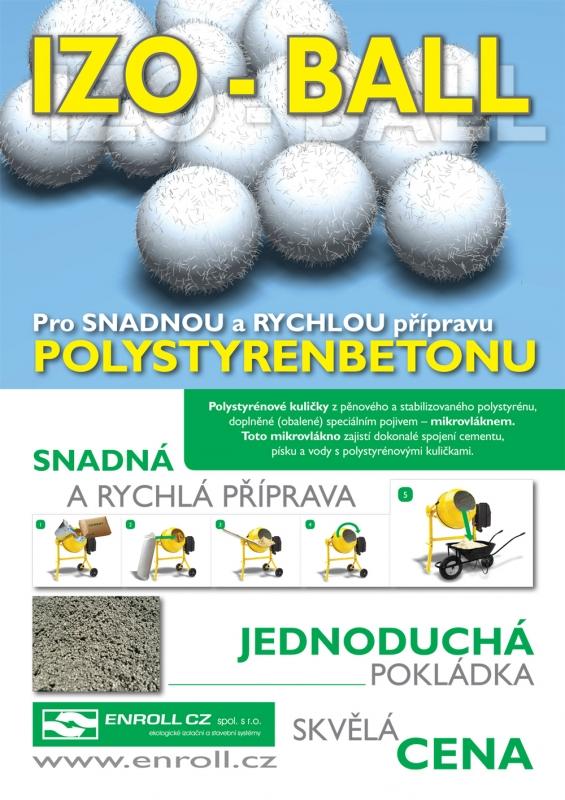 IZO-BALL polystyrenové kuličky do lehčeného a tepelně izolačního betonu
