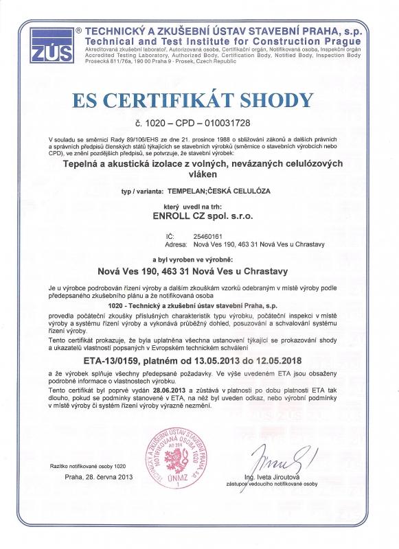 Certifikát foukané izolace